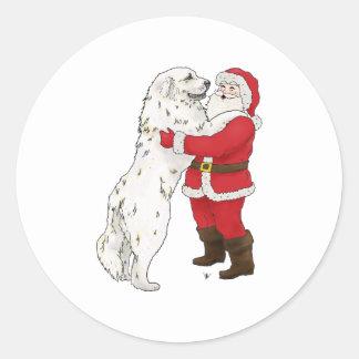 Navidad de los grandes Pirineos que saluda Pegatinas Redondas