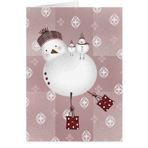 Navidad de los pájaros de la nieve tarjeta de felicitación