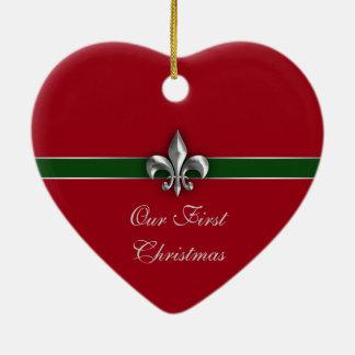 Navidad de los pares de la flor de lis primer adornos de navidad