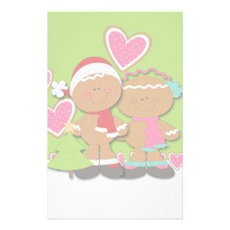 Navidad de los pares de la galleta del pan de jeng papelería personalizada