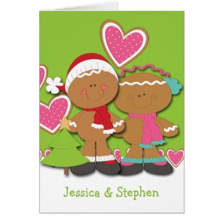 Navidad de los pares de la galleta del pan de jeng tarjetas