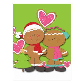 Navidad de los pares de la galleta del pan de jeng tarjeta postal
