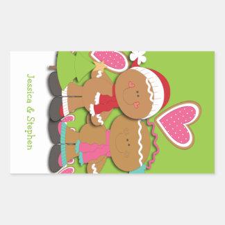 Navidad de los pares de la galleta del pan de rectangular pegatina