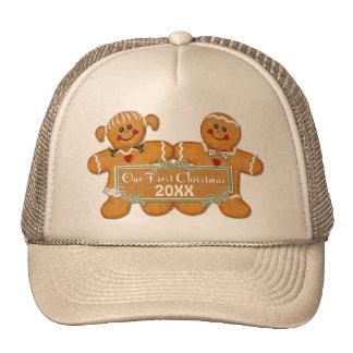 Navidad de los pares del pan de jengibre primer gorra