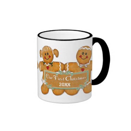 Navidad de los pares del pan de jengibre primer taza a dos colores