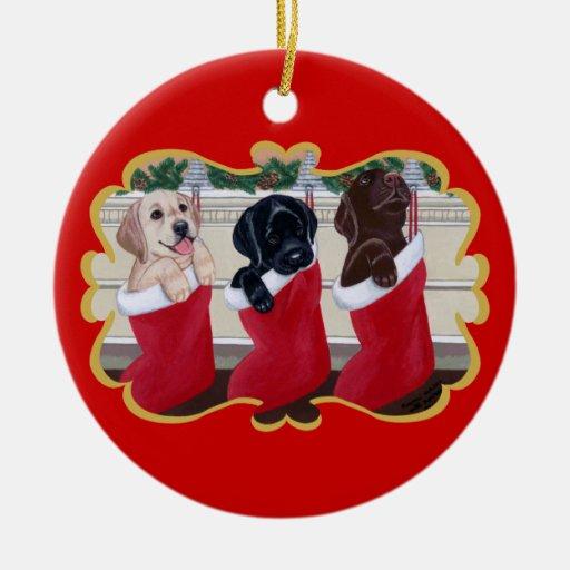 Navidad de los perritos del labrador retriever ornamento de navidad