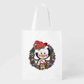 Navidad de los pingüinos bolsas para la compra