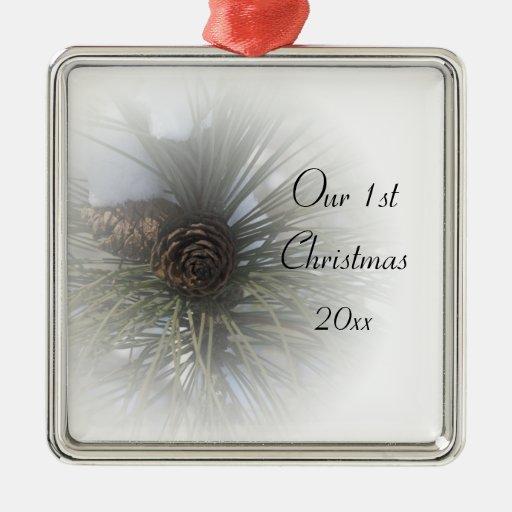 Navidad de los pinos Nevado 1r junto Ornamentos De Navidad