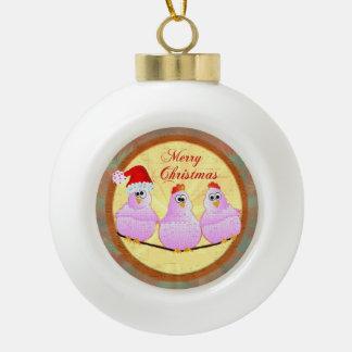 Navidad de los pollos adorno de cerámica en forma de bola