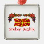 Navidad de Macedonia Adorno Cuadrado Plateado
