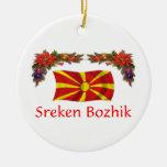 Navidad de Macedonia Adorno Redondo De Cerámica
