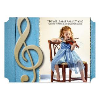 """Navidad de madera azul de la foto de la música del invitación 5"""" x 7"""""""