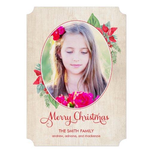 Navidad de madera pintado/tarjeta de la foto del d invitación