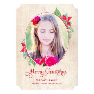 """Navidad de madera pintado/tarjeta de la foto del invitación 5"""" x 7"""""""