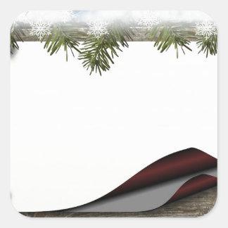 Navidad de madera rústico o impresión del invierno pegatina cuadrada