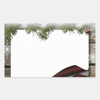 Navidad de madera rústico o impresión del invierno pegatina rectangular