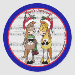 Navidad de Mare'y de los caballos de Caroling Pegatinas Redondas