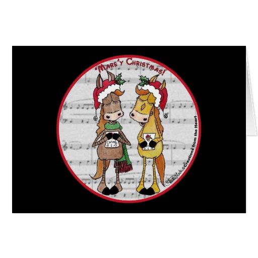 Navidad de Mare'y de los caballos de Caroling 'red Tarjeta