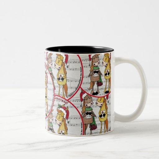 Navidad de Mare'y de los caballos de Caroling 'red Tazas De Café