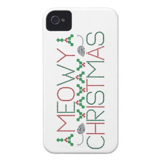 Navidad de Meowy iPhone 4 Case-Mate Protectores