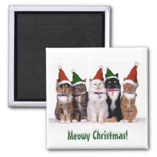 """""""Navidad de Meowy!"""" Gatos en gorras Imán Cuadrado"""