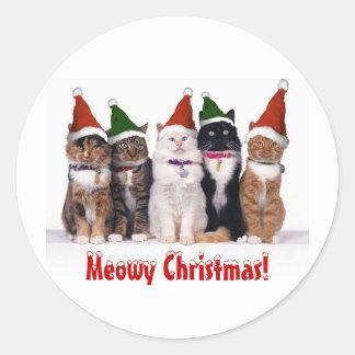 """""""Navidad de Meowy!"""" Gatos en gorras Pegatina Redonda"""