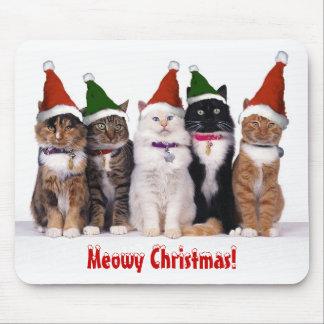 """Navidad de Meowy!"" Gatos en gorras Tapete De Raton"