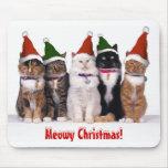 """""""Navidad de Meowy!"""" Gatos en gorras Tapetes De Raton"""