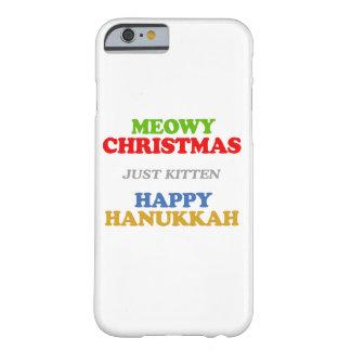 Navidad de Meowy -- Humor del día de fiesta Funda De iPhone 6 Barely There