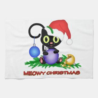 Navidad de Meowy Toallas De Mano