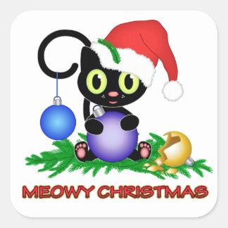 Navidad de Meowy Colcomanias Cuadradases