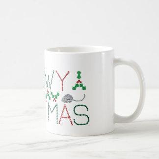 Navidad de Meowy Taza Básica Blanca