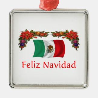 Navidad de México Adorno Cuadrado Plateado
