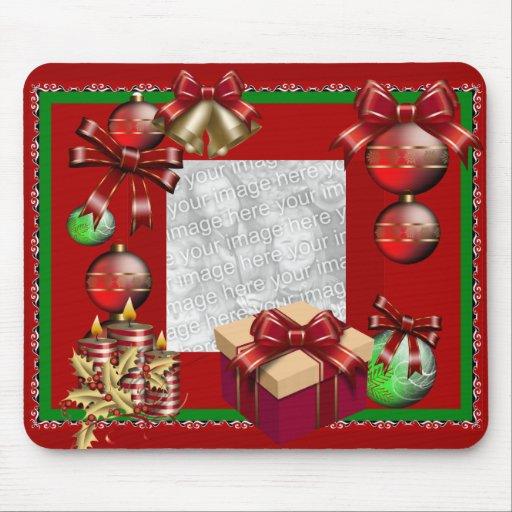 Navidad de Mousepad añade verde rojo de la foto Alfombrillas De Ratón