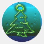 navidad de neón pegatina redonda