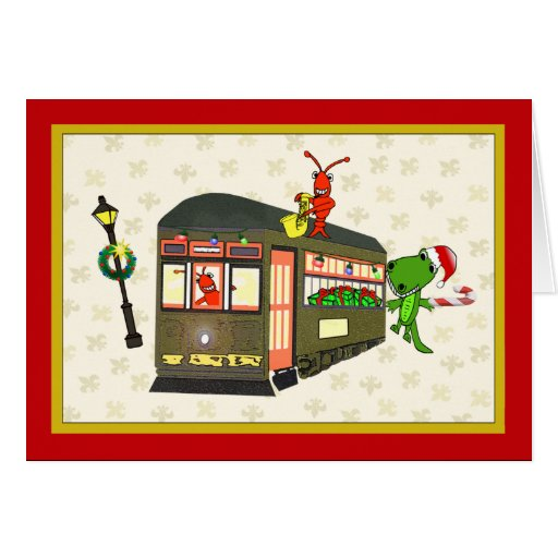Navidad de New Orleans del cocodrilo del coche de Tarjeta De Felicitación