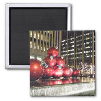 Navidad de New York City Imán Cuadrado