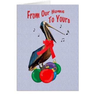 Navidad, de nuestro hogar, canto del pelícano tarjeta de felicitación