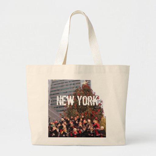 NAVIDAD DE NUEVA YORK BOLSAS LIENZO