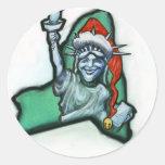 Navidad de Nueva York Etiqueta Redonda