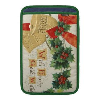 Navidad de oro Belces del vintage y acebo Funda Macbook Air