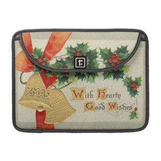 Navidad de oro Belces del vintage y acebo Fundas Macbook Pro