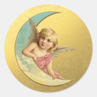 Navidad de oro del ángel de la luna del Victorian Pegatina Redonda