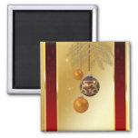 Navidad de oro elegante - imán cuadrado