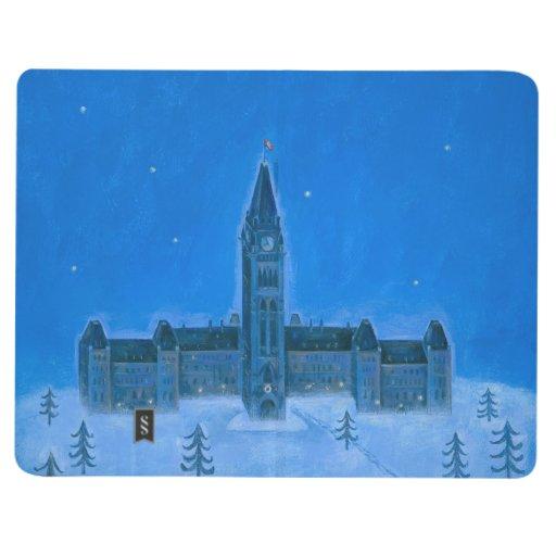 Navidad de Ottawa de los edificios del parlamento Cuadernos