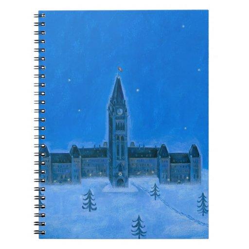 Navidad de Ottawa de los edificios del parlamento Cuaderno