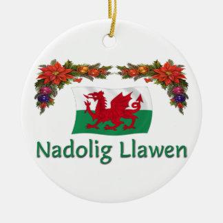 \ Navidad de País de Gales Adorno Navideño Redondo De Cerámica