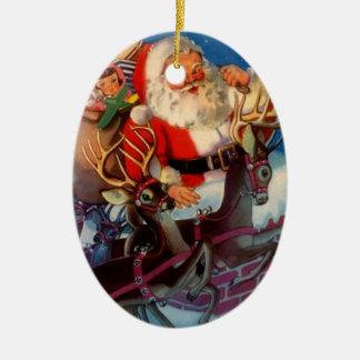 Navidad de Papá Noel del tejado del vintage de los Ornamento De Navidad