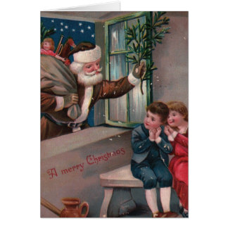 Navidad de Papá Noel del traje de Brown que saluda Tarjeta De Felicitación