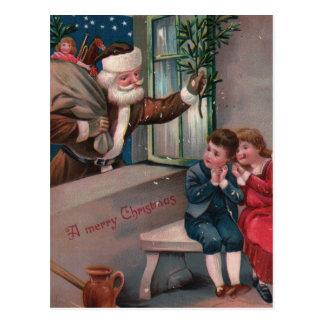 Navidad de Papá Noel del traje de Brown que saluda Tarjeta Postal
